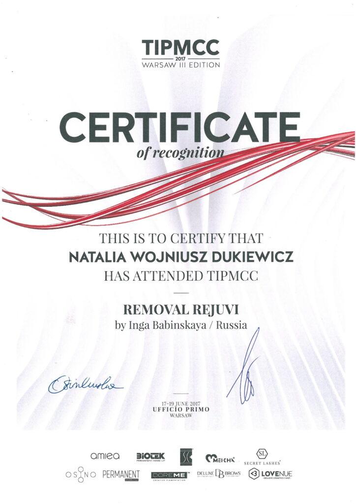 certyfikat natalia wojniusz